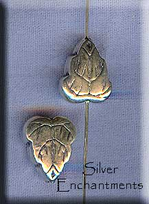 Sterling Silver Leaf Beads, 13x8mm Puff (2)