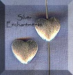 Brushed Sterling Silver Heart Beads, 9mm (2)