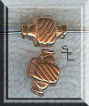 Fancy Copper Beads, 10x8x6mm (2)