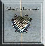 Sterling Silver Fancy Heart Beads, 8x10mm (2)