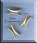 Sterling Silver Double Noodle Beads, Curved Tube Beads (2)