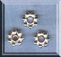 Sterling Silver 7mm Daisy Spacers, Bright (2)