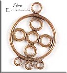 Solid Copper Round with Round Accents Chandelier Earring Findings, PAIR 2-pc