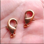 Copper Lobster Clasps, 19mm Copper Trigger Clasps with 4mm Jump Ring (10)