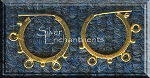Vermeil 3 Dangles and Dots Hoop Chandelier Earring Findings, PAIR 2-pc