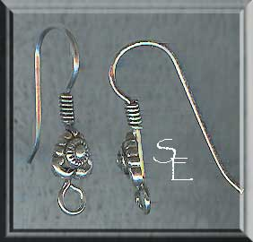 Sterling Silver Ear Wires, Fancy Designer Bead Earwires with Coil, 5-Pair Bag