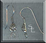 Sterling Silver Fancy Designer Bead Earwires with Coil, Pair