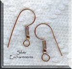 Solid Copper Earring Hooks with Coil and Ball, Copper Ear Wires, 5-Pair Bag
