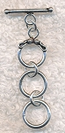 Sterling Silver 3-Ring Expandable Toggle Clasp, 12mm Rings