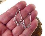 Sterling Silver Diamond 5-Loop Chandelier Earring Findings 33x18mm 2 per bag