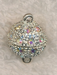 Magnetic Clasps, Gemmed Ball Clasp with Crystal AB Rhinestones, 13mm