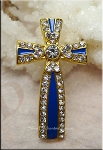 Enameled Cross Connectors with Crystals, Sapphire Blue-Gold, Ornate