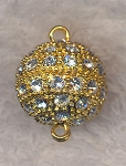 Gold Plated Round Magnetic Jewelry Clasp with Crystal Rhinestones