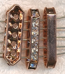 Copper Plated 5-Strand Jewelry Separator Bars with Crystals 27x4x8mm 5 per bag