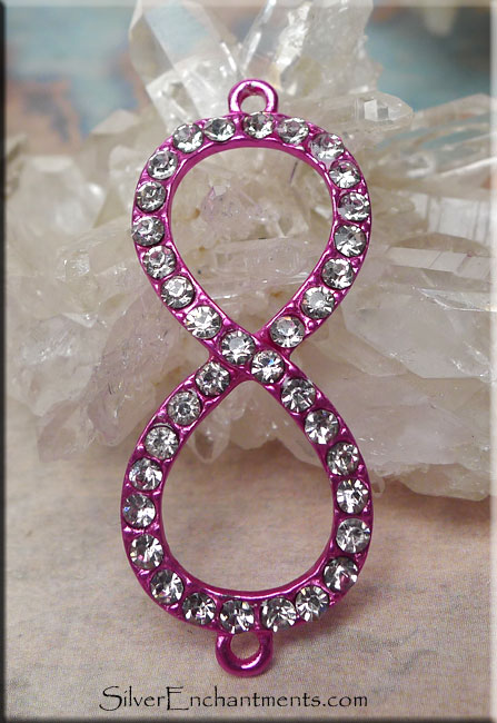 HOT PINK Infinity Jewelry Findings with Crystals