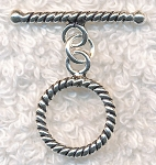 Sterling Silver Twist Round Toggle Clasp