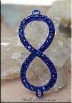 Infinity Bracelet Findings with Crystals, Metallic Blue
