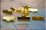 Ribbon Crimps Clamps, 16mm Bright Gold Finish (10)