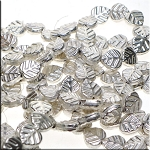 Sterling Silver Plated Copper Leaf Beads, Strand of 29pc