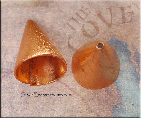 Solid Copper Jewelry Cones Brushed Finish 15mm Opening 2