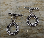Sterling Silver Toggle Clasp, Elegant Round Double-Sided