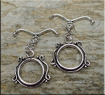 Sterling Silver Ornate Toggle Clasp with Curved Bar
