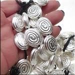Sterling Silver Plated Copper Fancy Swirl Oval Bead, 22x18mm
