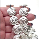 Sterling Silver Plated Copper Spiral Seashell Bead, 20mm