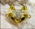 Gold Plated Fox Jewelry Connector with Crystals