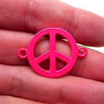 Enameled Hot Pink Peace Sign Connector, 32x23mm Peace Jewelry Finding