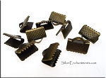 SOLDOUT - Ribbon Crimps, Ribbon Clamps, 10mm Antique Brass