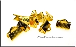 Ribbon Crimps, Ribbon Clamps, 10mm Gold