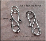 Sterling Silver S-Hook Jewelry Clasp with Rings, 18mm