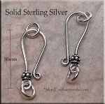 Sterling Silver J-Hook Jewelry Clasp with Bali Bead Accent and Rings