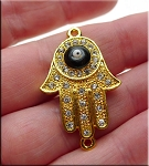 Hamsa with Evil Eye Connector, Crystal Studded, Gold Finish, 35x22mm