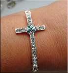 Cross Connector, Crystal Studded with Teal Crystal Hatch Center, Silver Plated