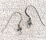 Sterling Silver Earring Hooks with 4-Ball Accent Bead and Coil Earwires, 10-Pair Bag