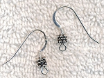 Sterling Silver Earwires with Triple Spacer Bead Accent Earring Hooks, 5-Pair Bag