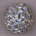 38mm Silver Plated Rhinestone Crystal Ball Bead