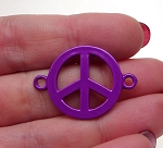 Enameled Peace Sign Connector, Purple 32x23mm Jewelry Finding