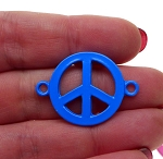 Enameled Vibrant Blue Peace Sign Connector 32x23mm Jewelry Link Finding