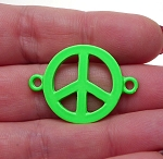 Enameled Bright Neon Green Peace Sign Connector 32x23mm Jewelry Link Finding