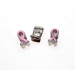 Enameled Pink Awareness Ribbon Beads with Large Hole 11x6mm (5)