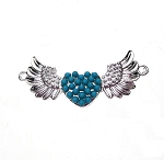 SOLDOUT - Curved Angel Wings Bracelet Jewelry Connector with Turquoise Glass Pearls 44x23mm