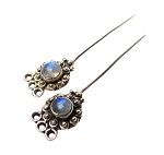 Moonstone Headpins, Sterling Silver and Moonstone (2)
