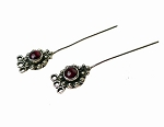 Garnet Headpins, Sterling Silver and Garnet Jewelry Headpins, Gemstone Head Pins (2)