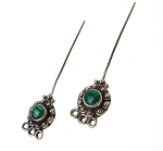 Malachite Headpins, Sterling Silver and Malachite Jewelry Headpins, Gemstone Head Pins (2)