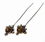 Tigereye Headpins, Sterling Silver and Tiger's Eye Jewelry Headpins, Fancy Gemstone Head Pins (2)