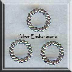 Sterling Silver Closed Jump Rings, Twisted 10mm, 12-gauge (2)