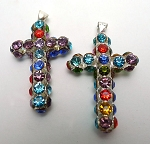 Multicolored Crystal Cross Necklace